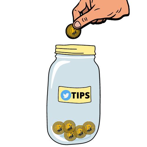 Twitter Tips in Bitcoin BTC